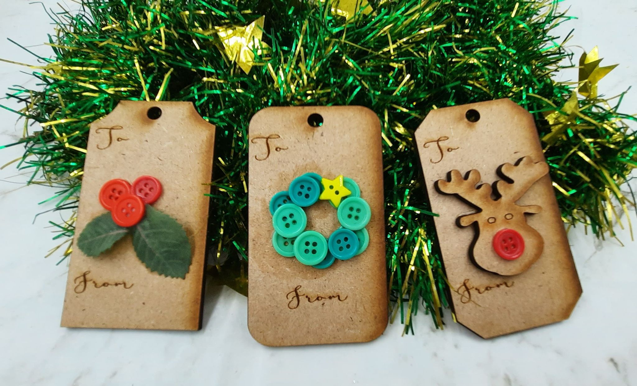 Button Christmas Tags
